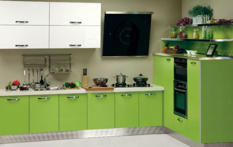 Soothing Green Kitchen Cabinets