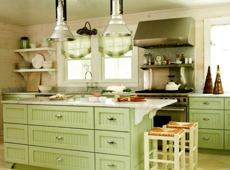 Appealing Green Kitchen Cabinets