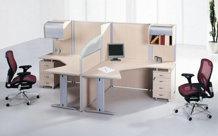 Double Work Desk Design in Cool Office Area