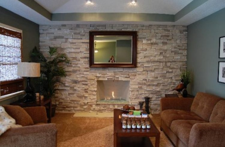 Stacked Stone Fireplace 1