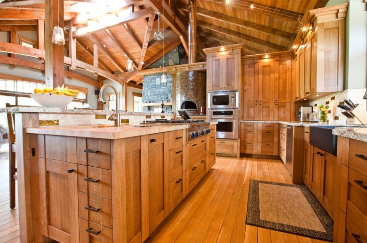 Comfort Cooking Experience with Eclectic Oak Kitchen Cabinets Design Ideas 4