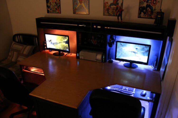 two person desk design for your wonderful home office area. Black Bedroom Furniture Sets. Home Design Ideas