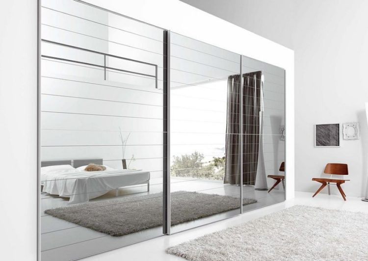 Gray Mirrored Sliding Closet Door Ideas For Large Openings. Cool Bedroom Closet  Door ...