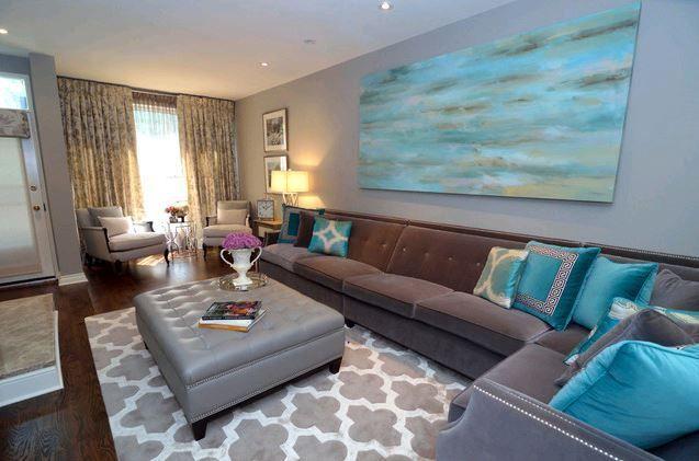 Artistic Turquoise Living Room Design