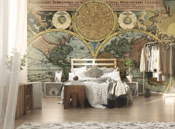 Awesome Steampunk Bedroom with Geometry Wallpaper