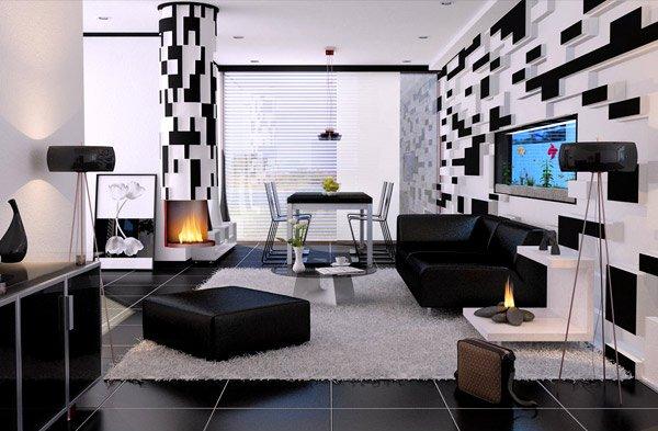 Black & White Male Living Space Ideas
