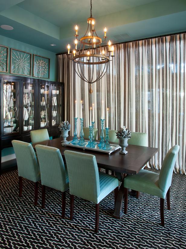 Elegant Turquoise Dining Room Table