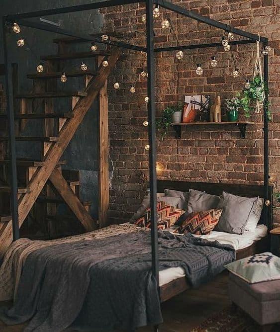 Eye-catching Hanging Light Bulbs in Metal Steampunk Bedroom