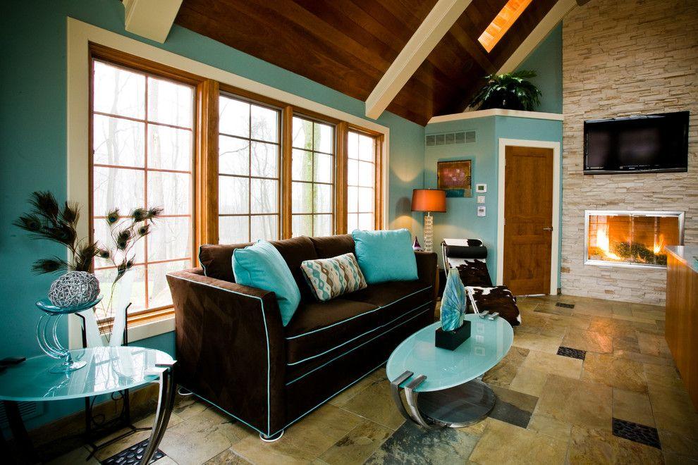 Mid-Century Feel Turquoise Living Room Design