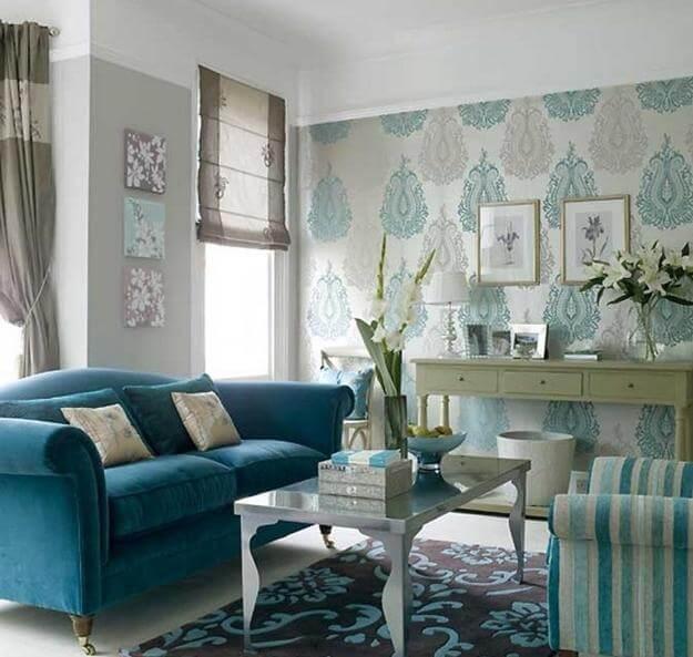 Modern Turquoise Living Room Design