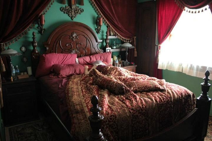 Red Bedroom with Steampunk Design Style