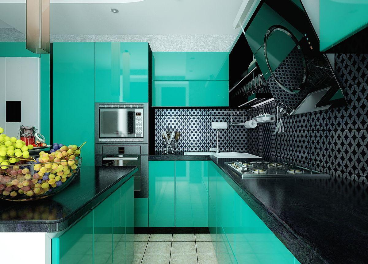 Sleek Turquoise Black Kitchen Decor