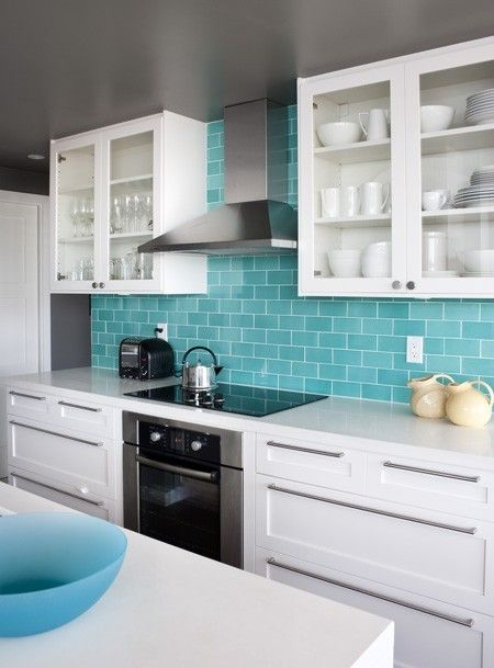 Turquoise Backsplash in White Kitchen