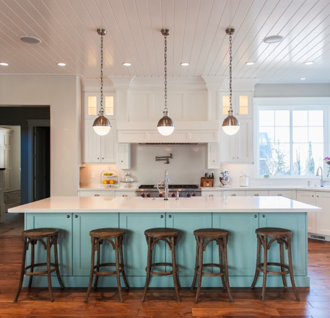 Turquoise Kitchen Island with White Countertop