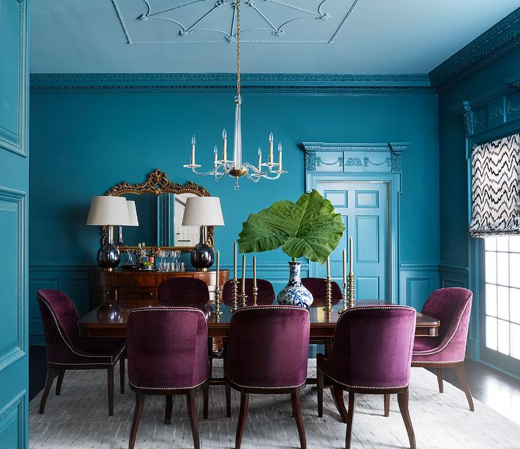 Turquoise and Purple Combination for Dining Room