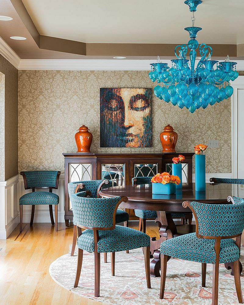Wonderful Turquoise Chandelier at Dining Room