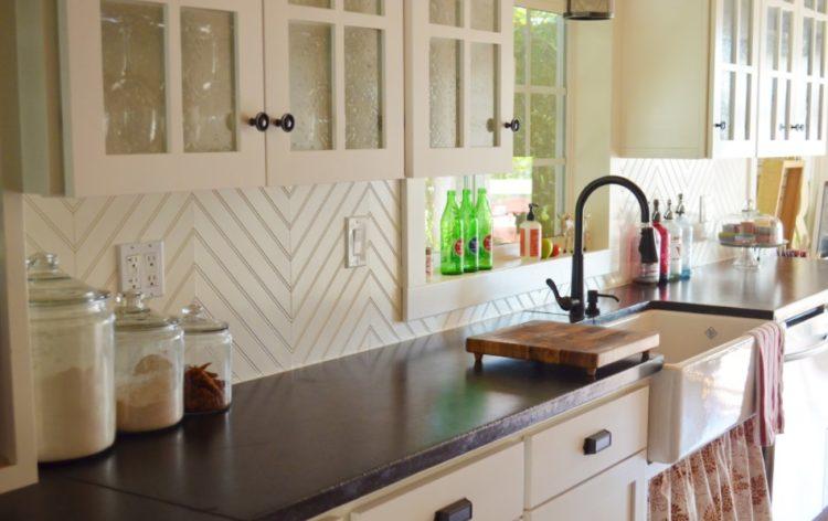 White Kitchen Cabinets with Beadboard Backsplash