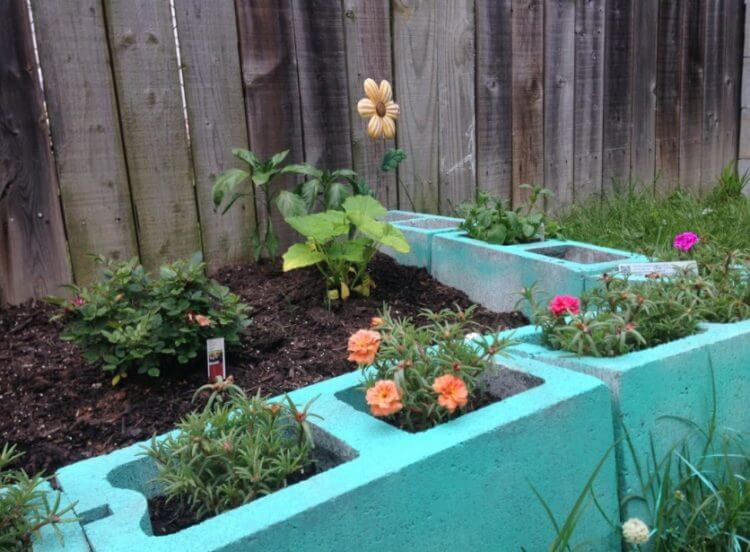 cinder block raised garden