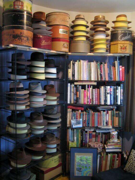 'Hat organizer ideas' from the web at 'https://theskunkpot.com/wp-content/uploads/2017/05/hat-rack-ideas-book-case.jpg'