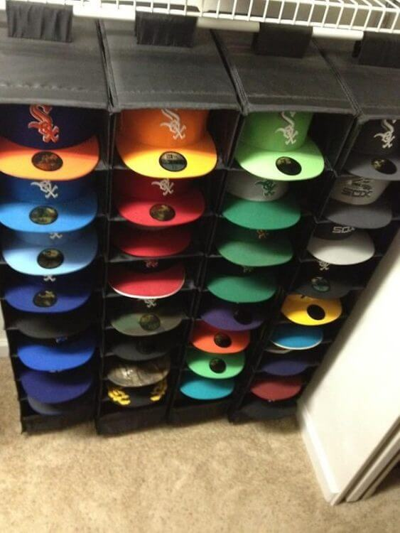 Vertical hat rack wall