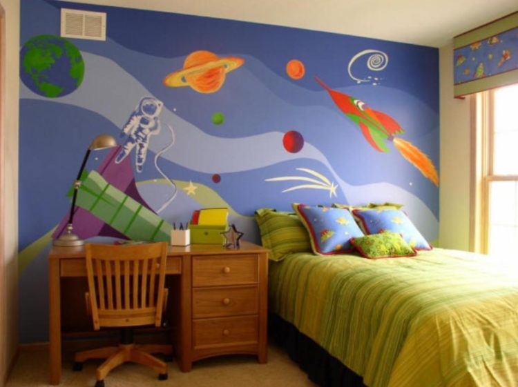 Space themed kids room idea