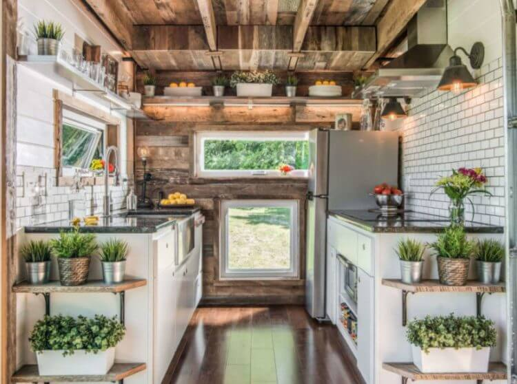 Tiny house kitchen storage