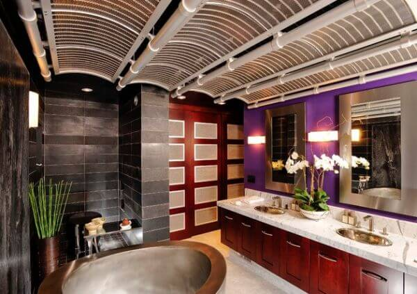 Futuristic Bathroom Design With Asian Style Decoration