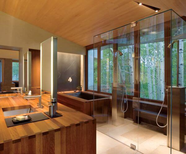 contemporary bathroom design with japanese style