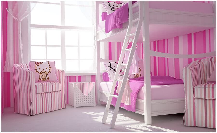 Pink and White Hello Kitty Bedroom Decor