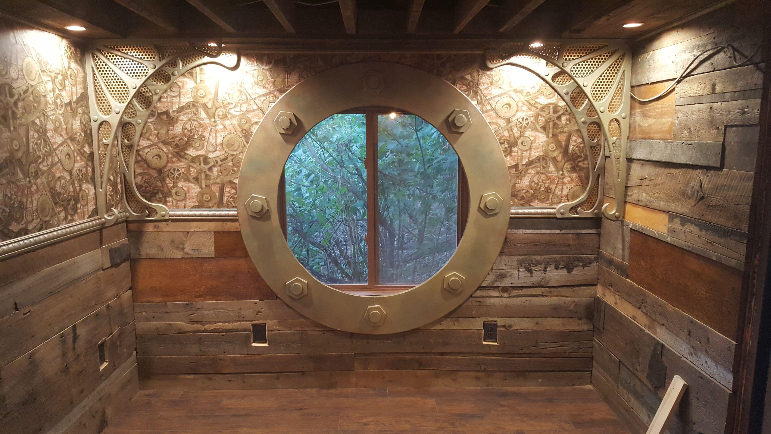 A Big Round Window with Steampunk Style