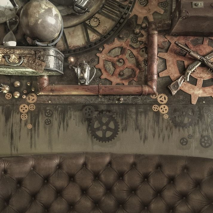 Steampunk Rusted Gear Decoration in Bedroom