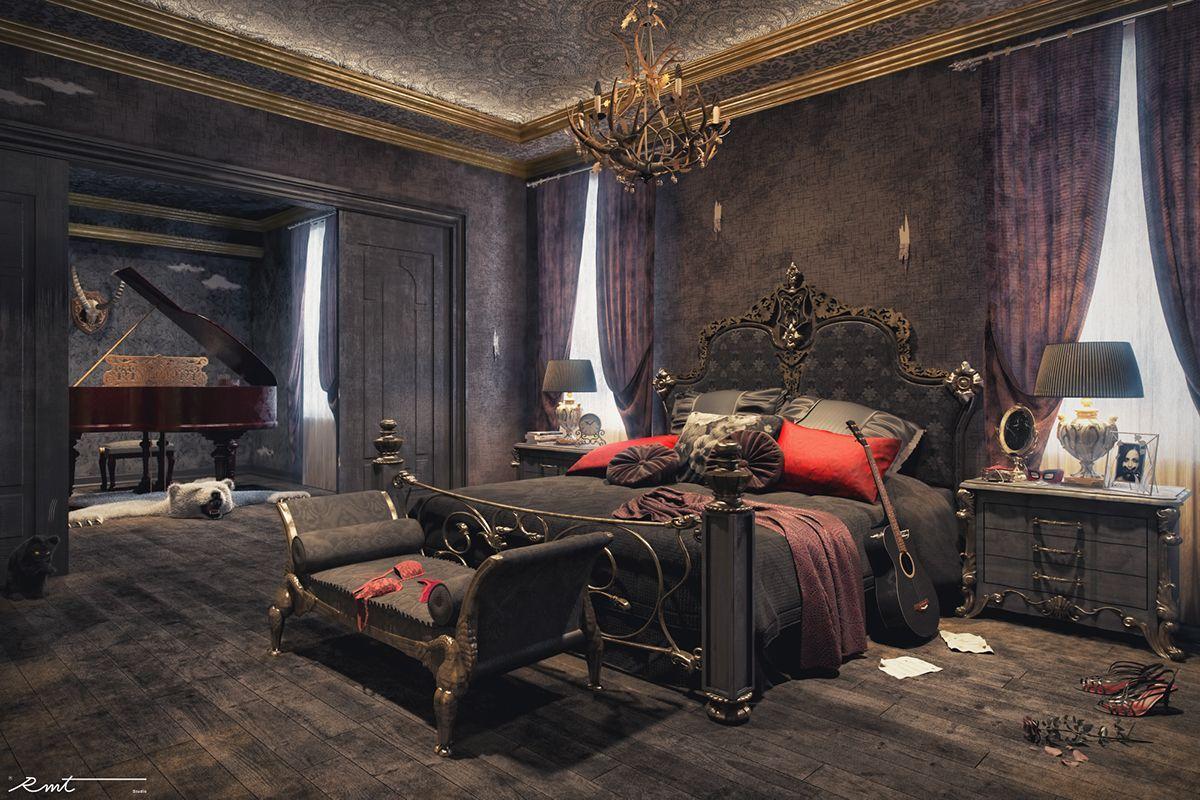 Victorian Steampunk Bed in Black