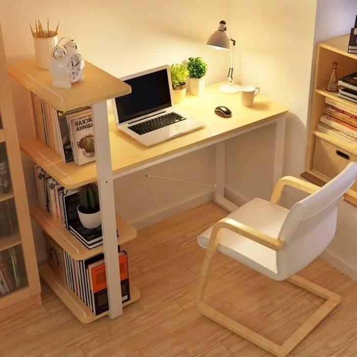 DIY Computer Desk With Bookshelves