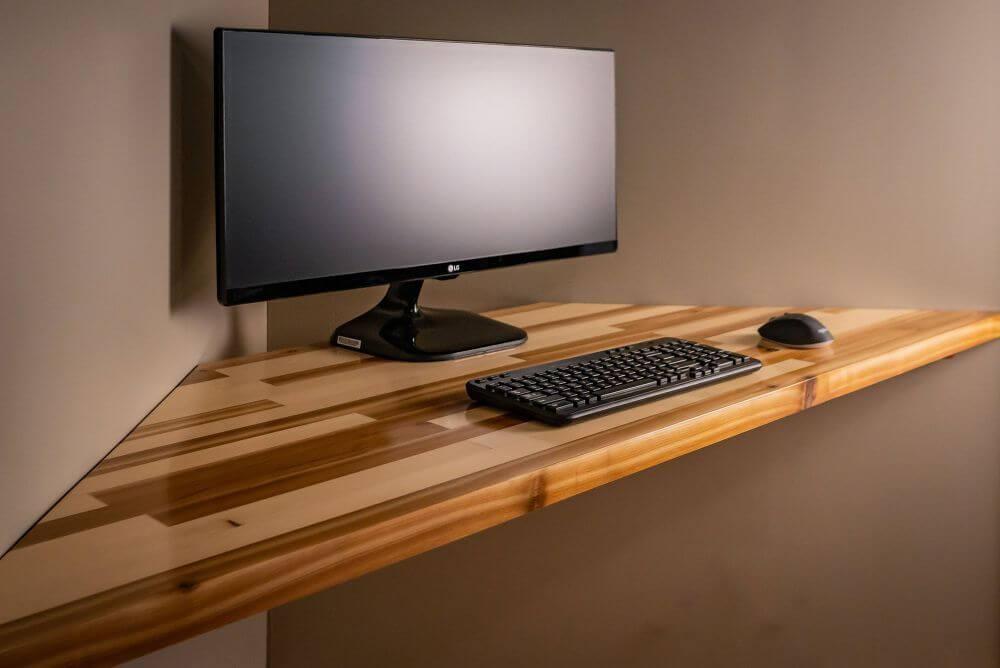 DIY Floating Corner Computer Desk