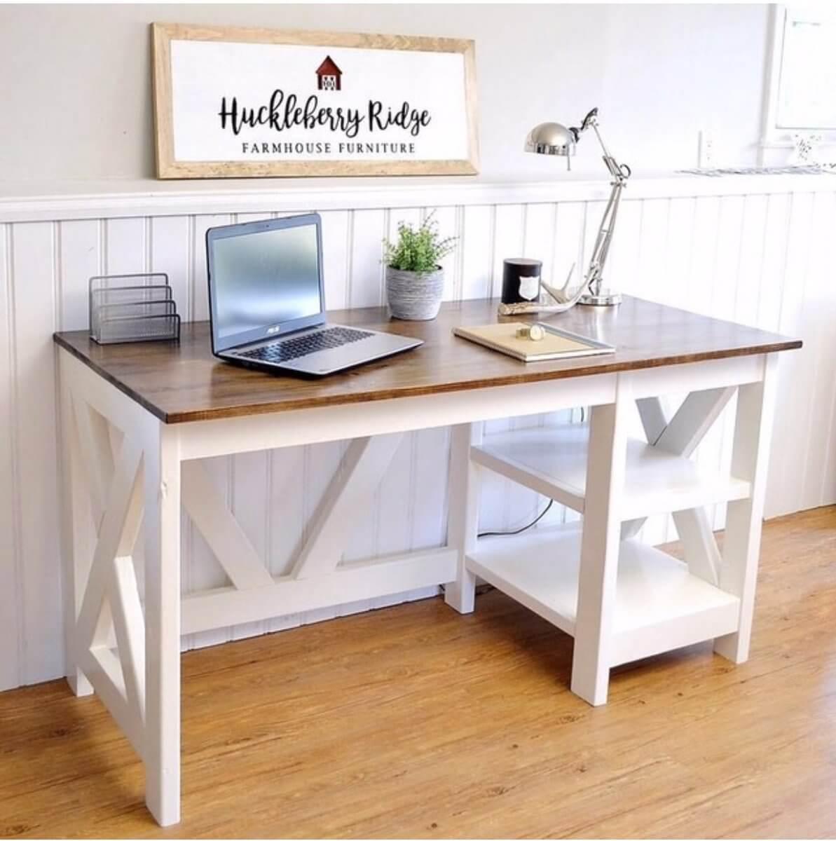 White Farmhouse Computer Desk