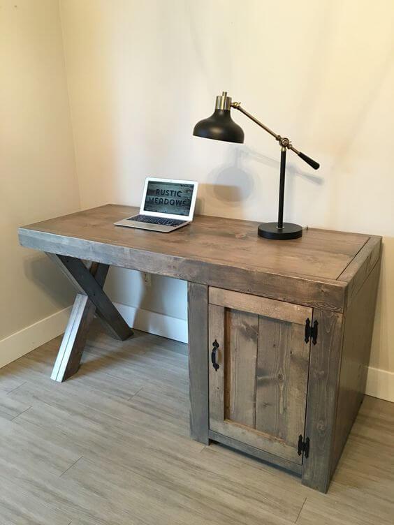 X-Legged Wooden Computer Desk